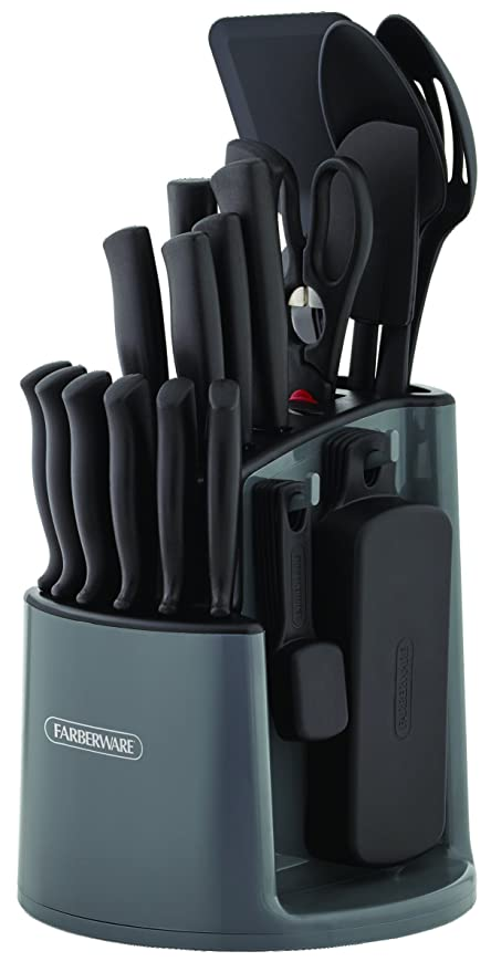 Farberware 5169370 30-Piece Spin-and-Store Knife and Kitchen Tool Set with  Rotating Storage Caddy, Black