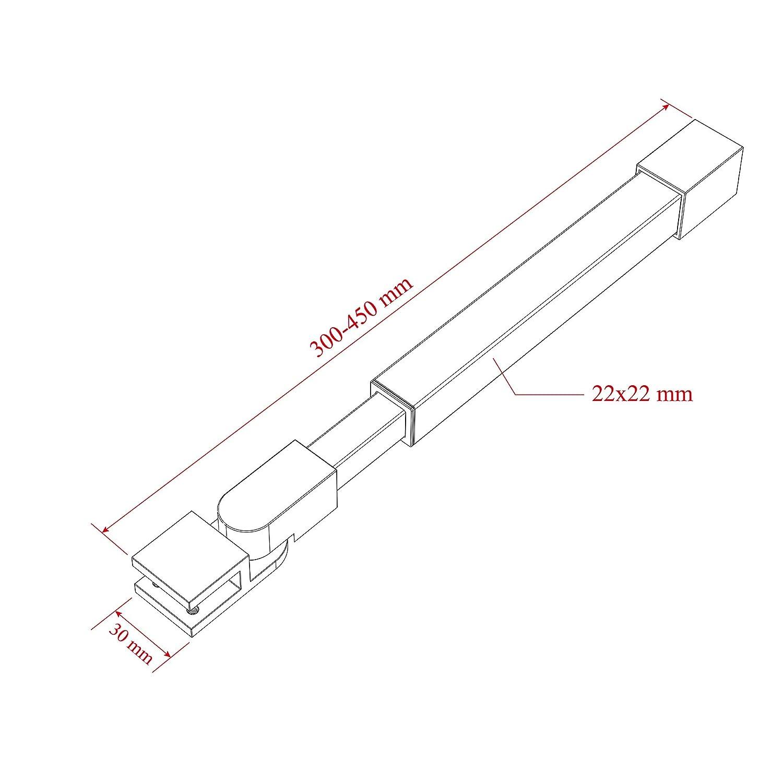Barra de sujeci/ón estabilizadora para mampara de ducha ajuste 300 GS34 grosor de cristal 6 ducha de acero inoxidable redondo 10 mm 450 mm