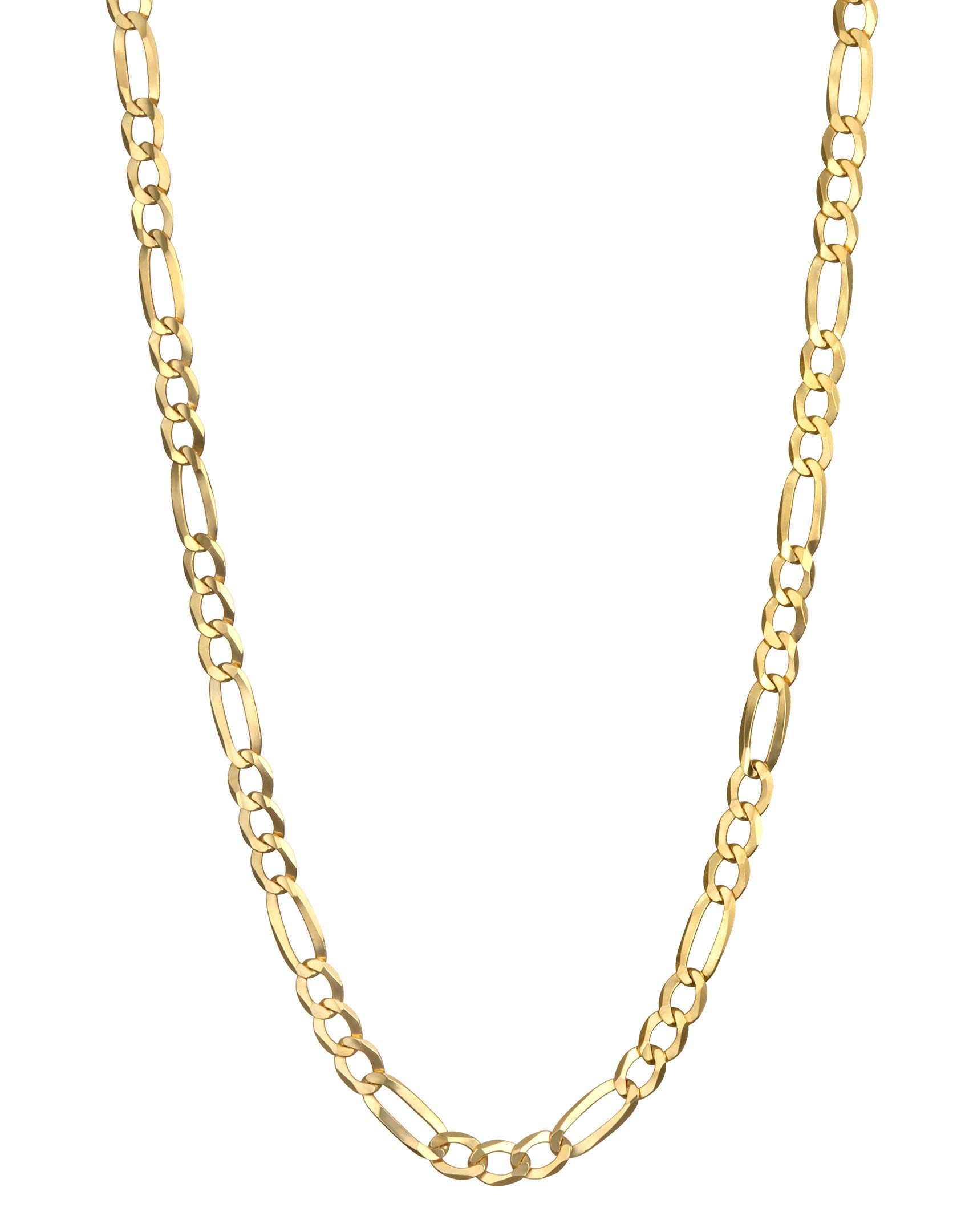 Pairfection 14K Yellow Solid Figaro Gold with Lobster Clasp - 3.20 MM Wide 28 Inches Long Necklace