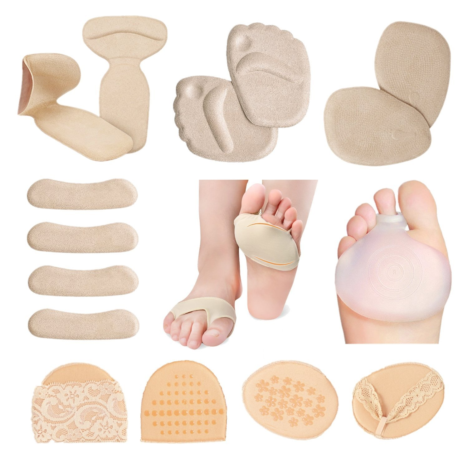 ROLISA High Heel Cushion Inserts Heel Grips Liner Ball of Foot & Metatarsal Pads, Foot Care Package 18 pcs