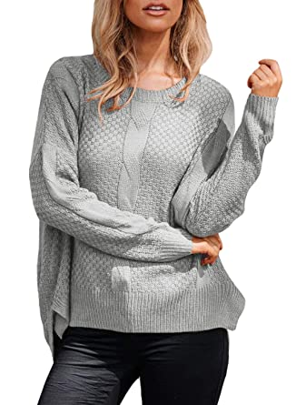 8f26f8eea3a Malaven Women Sweaters Patterned Knit Stretchable Sweater Full Sleeve Grey  S 4 6
