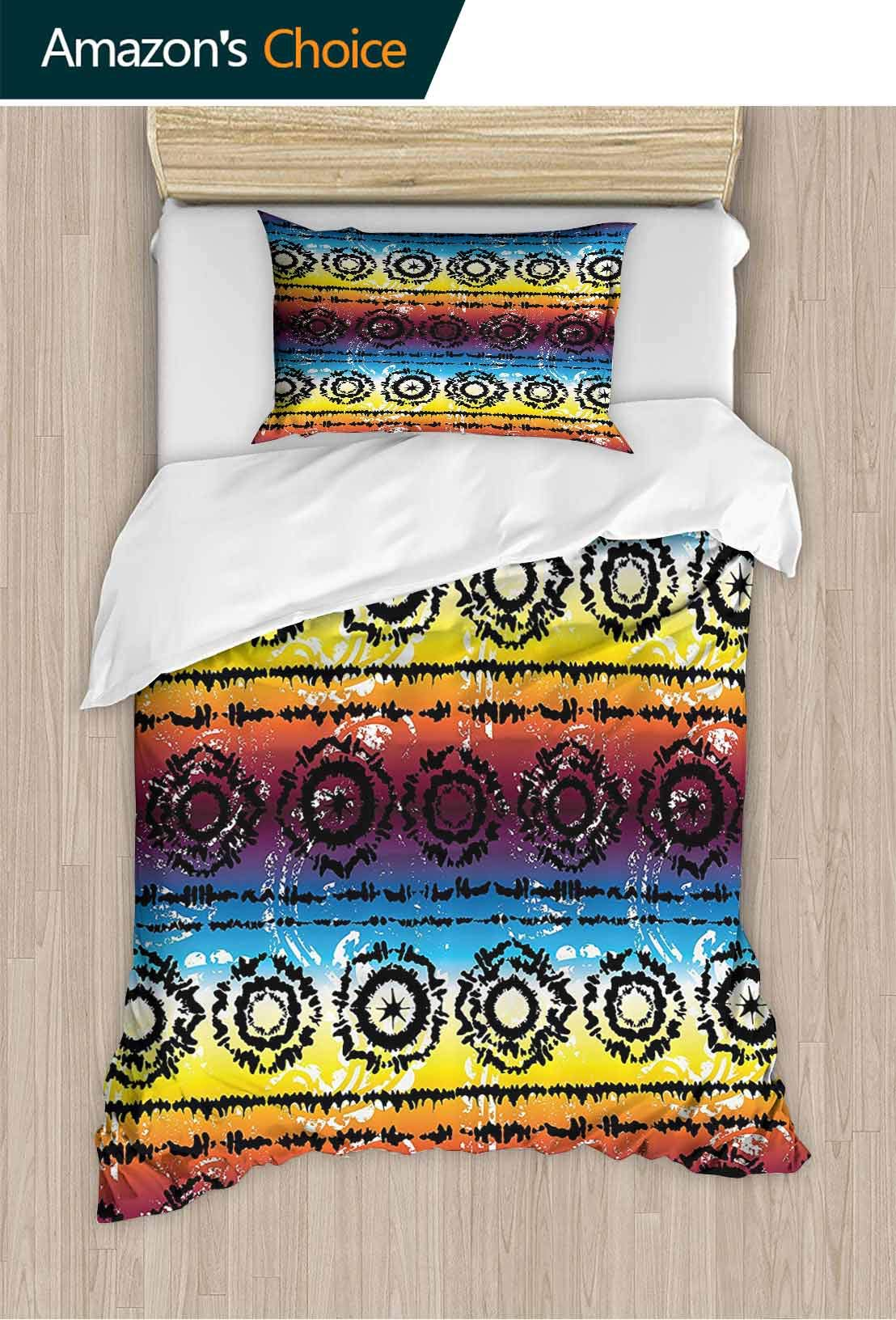 PRUNUSHOME Polyester Bedding Hippie Regular Rotary Circles Rainbow Color Striped Hazy Grungy Artisan Ultra Soft Hypoallergenic Full
