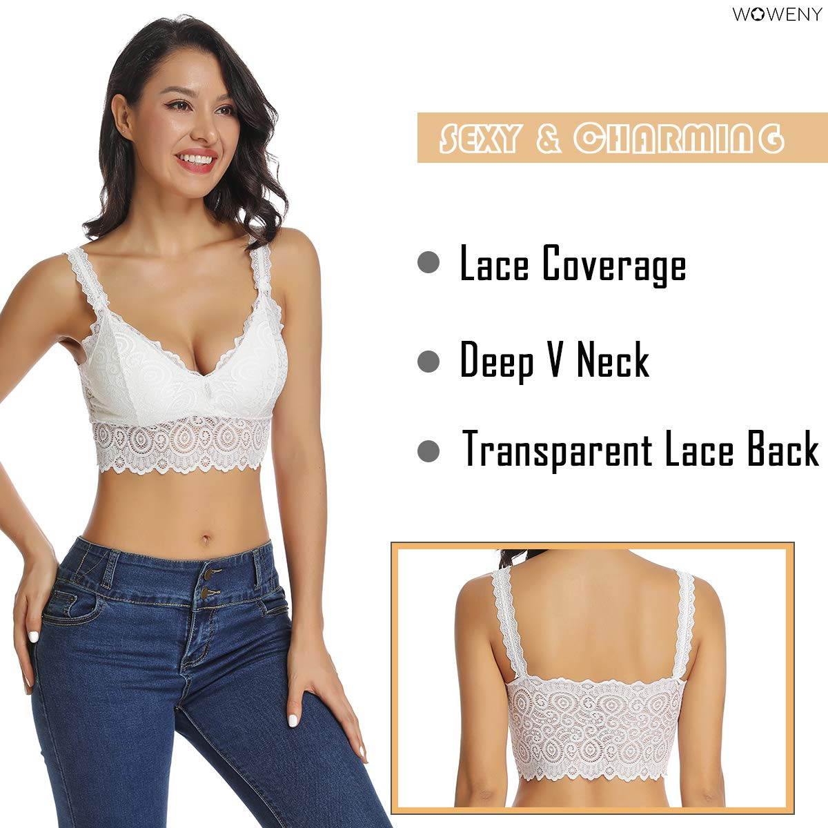 Lace Bralette for Women Crop Top Built in Bra Cami Camisole V Neck Tank Vest Removable Padded Spaghetti Strap