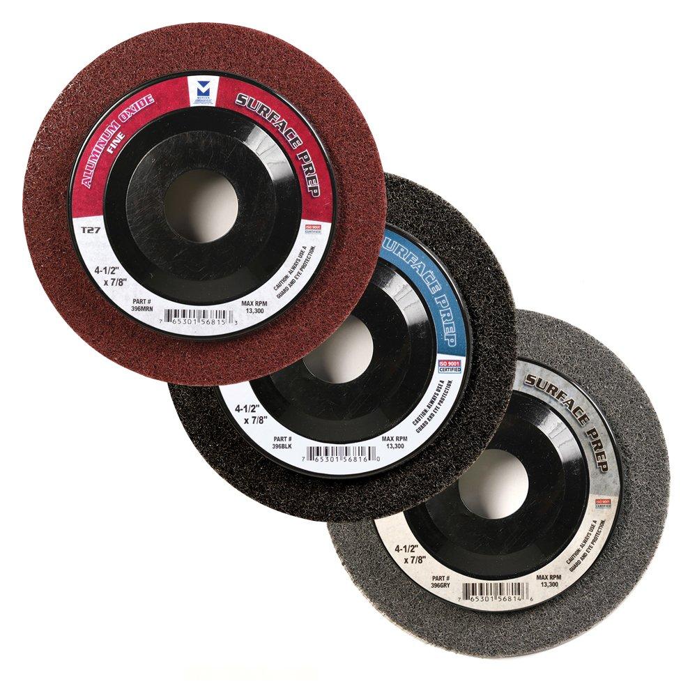 Mercer Industries 396BLK Surface Prep Wheels Type 27 Black/X-Course (10 Pack), 4-1/2'' x 7/8'' by Mercer Industries