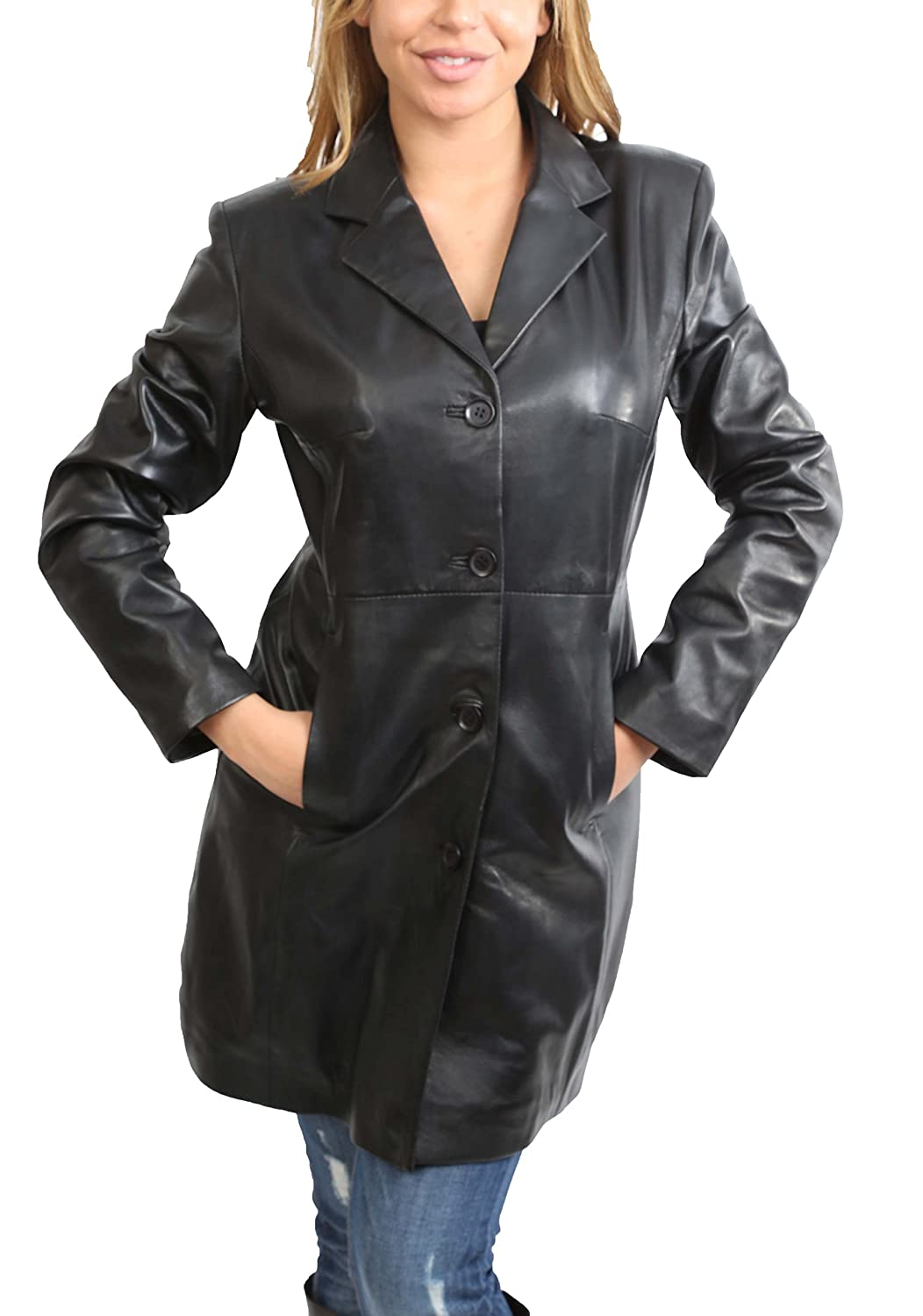 Ladies 3/4 Length Soft Leather Classic Long Single Breasted Coat F99 Black House of Leather