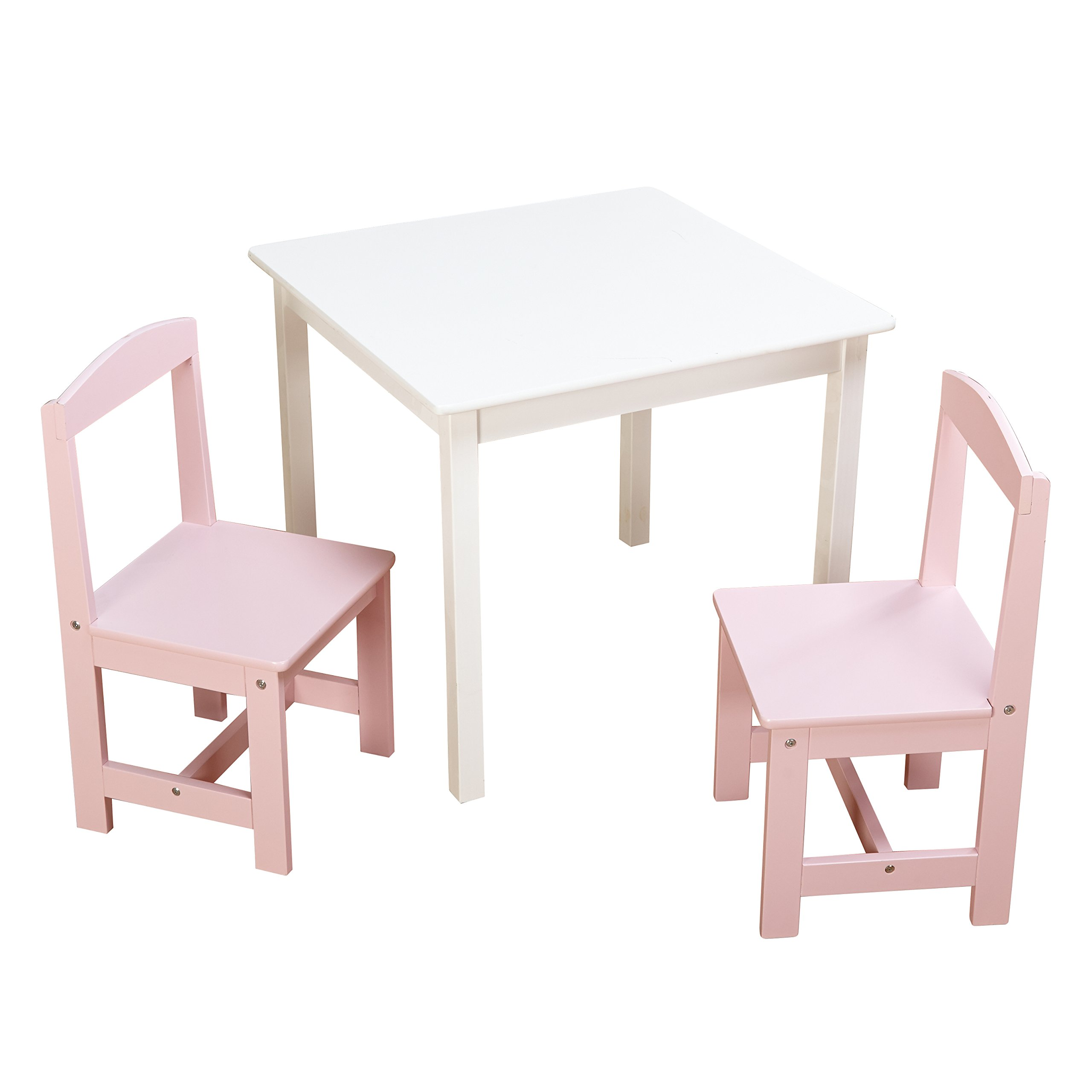 Target Marketing Systems 91120WHP Hayden 3 Pc Kids Table and Chairs, White/Pink