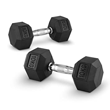 Capital Sports Hexbell 10 Mancuernas 10kg (Par de pesas cortas de 10 kilos cada una, cabezal hexagonal, nucleo de hierro, revestimiento goma resistente a ...