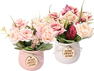 LUEUR Artificial Potted Flower 2pcs Fake Flowers in Pot Silk Rose Bouquet Decoration with Ceramics Vase Fake Plants Floral Arrangement for Table Centerpieces Home Office Wedding Décor (Pink&Dark Pink)