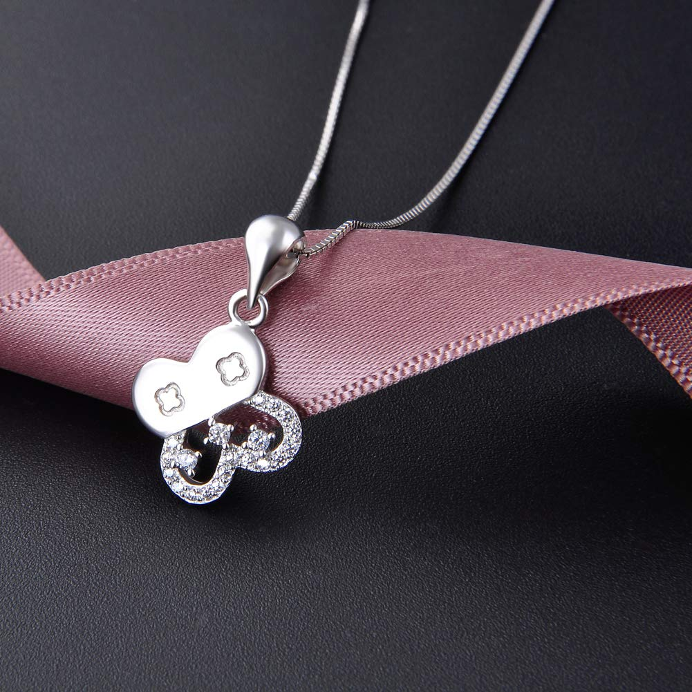 925 Sterling Silver Pendant Necklace 18 Box Chain Four-Leaf Clover with Zircon Pendant Simple Fashion Ladies Jewelry
