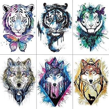 Amazon Com Men Arm Sleeve Tattoo Sticker Wolf Tiger Temporary