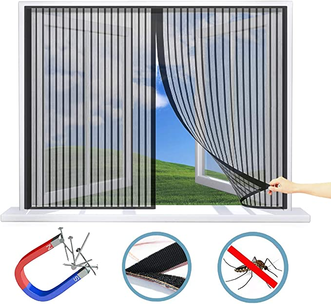Anti Mosquitos WxH WISKEO Mosquitera Ventana Grande Magn/ética para Ventanas Batientes No Requiere Perforaci/óN Pegajoso Cortina Todos Los Tama/ños Beige 120x200 CM