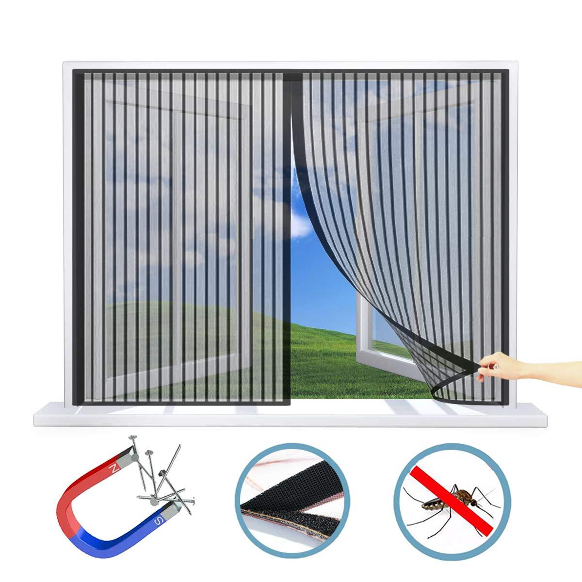 WxH Schwarz 30x50CM WISKEO Magnet Fliegengitter Fenster Aussen Verschiedene Gr/ö/ßen Insektenschutz magnetisch Anti-Moskito Insektenschutzgitter Rolle Klebmontage Schiebe Dach T/ür
