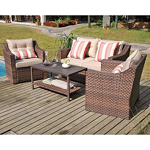 SUNSITT 4-Piece Patio Conversation Set All Weather Woven Brown Wicker Furniture Beige Cushions Coffee Table w Aluminum Top