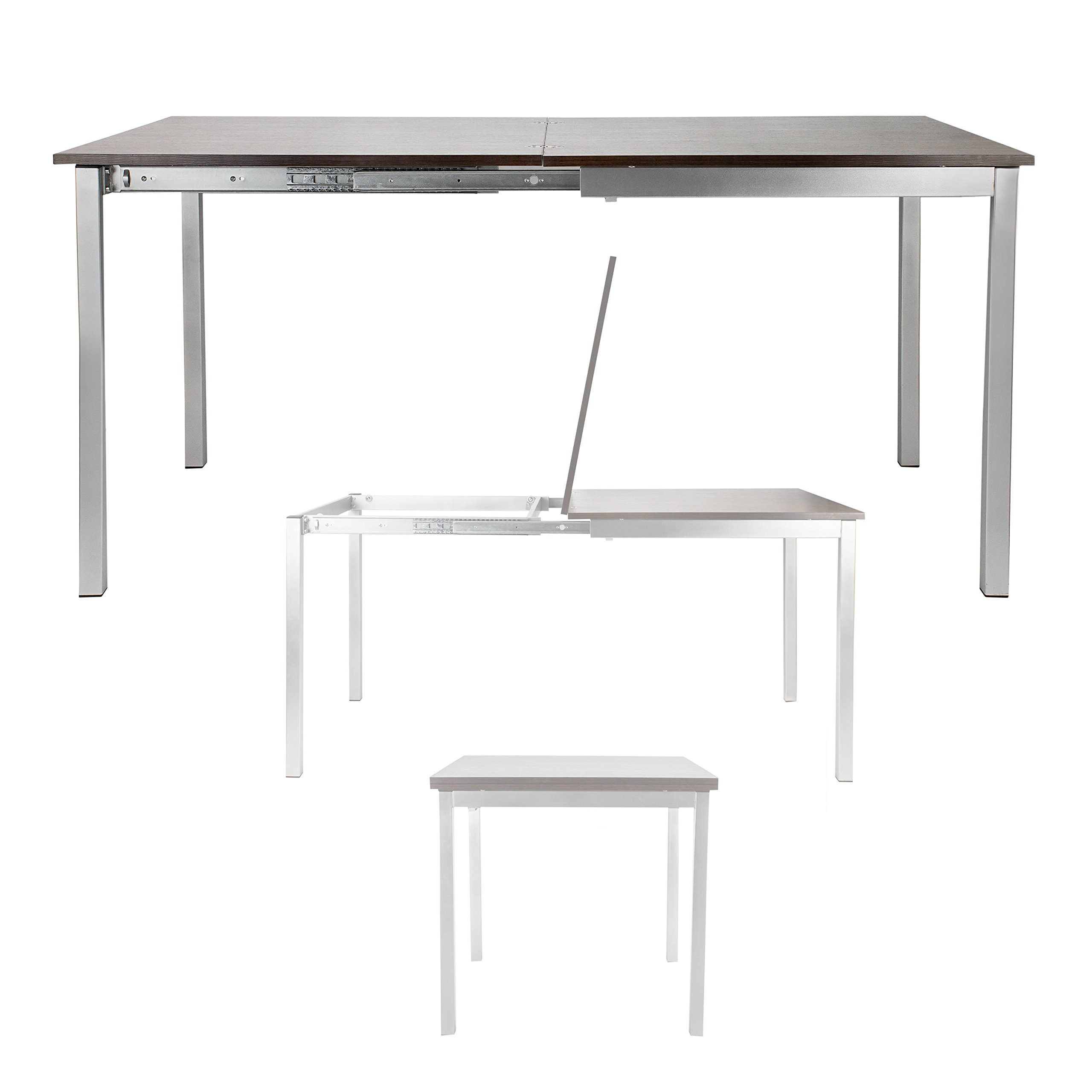 Corner Housewares Modern Rectangular 4-6 Person Easy Slide Transforming Dining Table with Gloss Finish, Dark Wood