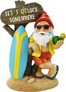 Muse Design Surfing Garden Gnome Figurine Garden Statues Yard Art Resin Decorations Outdoor Garden Décor