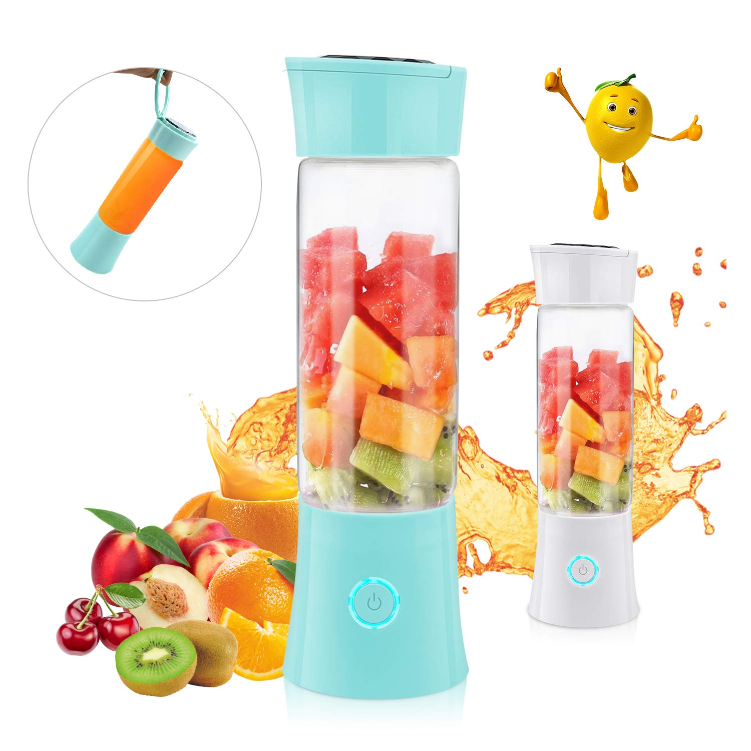 Portable Blender, Supkiir USB Rechargeable Mini Juicer Cup with Handle, Smoothie Blender with 6 Blades with 4000mAh Batteries, 480ml Household Fruit Mixer for Travel Office Sports School by Supkiir
