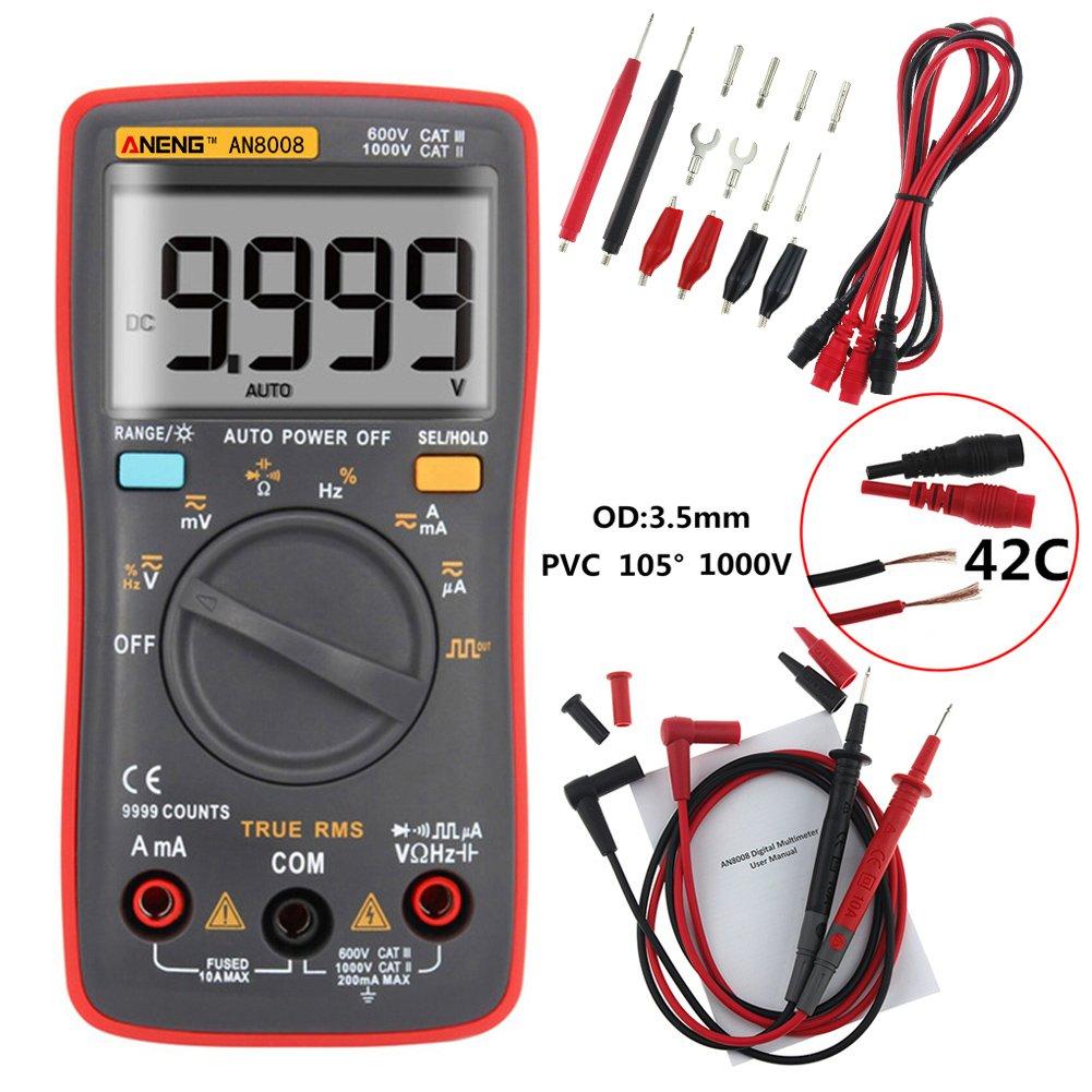 Amazingdeal An8008 True Rms Digital Multimeter 9999 Counts Square Multitester Avometer Dt 830 B Wave Voltage Ammeter Red Car Motorbike