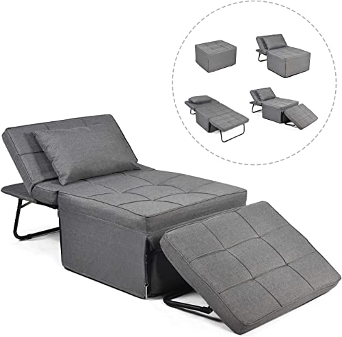 Convertible Sofa Bed, Sleeper Chair 4 in 1 Multi-Function Folding Ottoman Modern Breathable Linen Guest Bed with Adjustable Sleeper for Small Room Apartment, Dark Gray