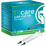 1ml Syringe Without Needle Luer Slip 100 Pack by Tilcare - Sterile Plastic Medicine Droppers for Children, Pets or Adults – L