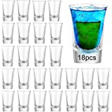 Farielyn-X Shot Glass Set with Heavy Base Bulk, 1.2 oz Clear Glasses for Whiskey and Liqueurs (18 pack + 6 Pack Spare In Case