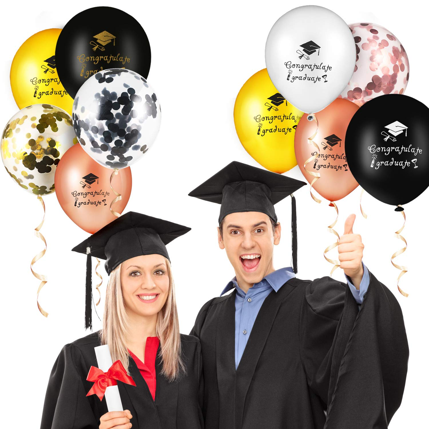 Yaomiao 45 Pieces Graduation Latex Balloons Confetti Balloons Gold Silver Black Rose Gold Graduate Balloon Decoration for Graduation Party