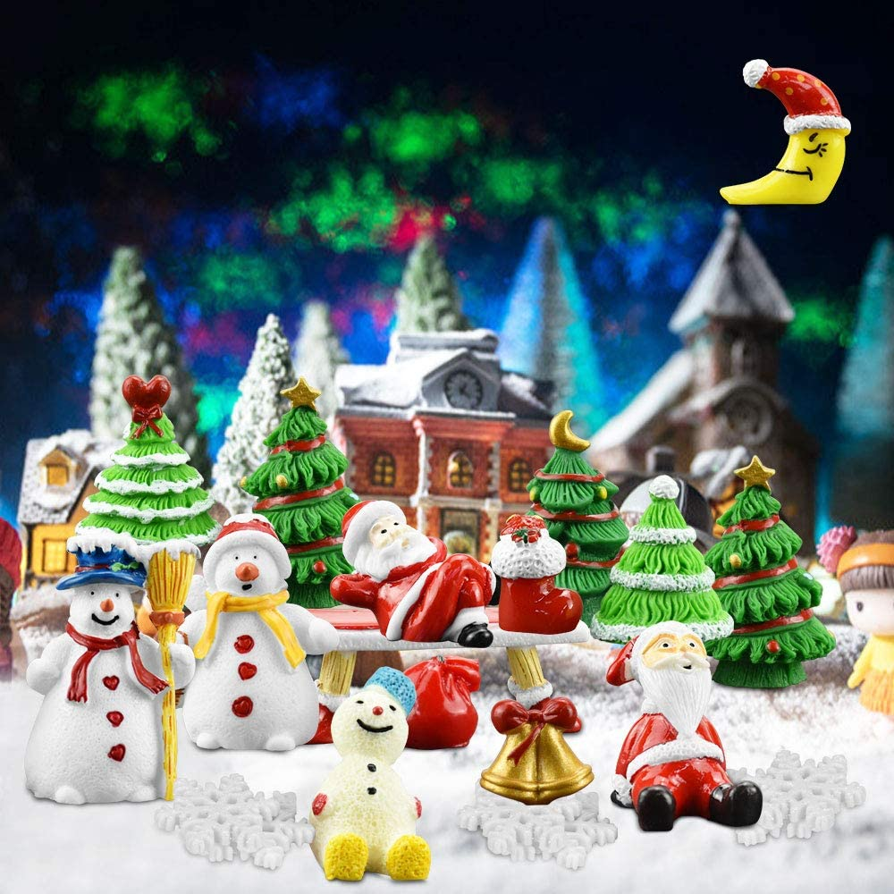 ZILONG 27PCS Christmas Miniature Ornaments DIY Fairy Dollhouse House Garden Decor White Sand, Santa Claus, Christmas Trees, Snowman, Snowflake, Sock, Bell, Bag, Moon, Bench for Holiday Decorations