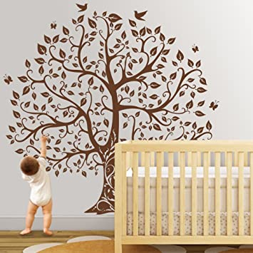 d3e777c05c Tree Wall Decal with Birds Vinyl Natural Theme Wall Art Sticker Baby Nursery  Decal Wall Decor