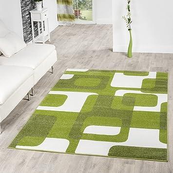 Tu0026T Design Wohnzimmer Teppich Modern Grün Grau Weiß Retro Muster Kurzflor,  Größe:160x220 Cm