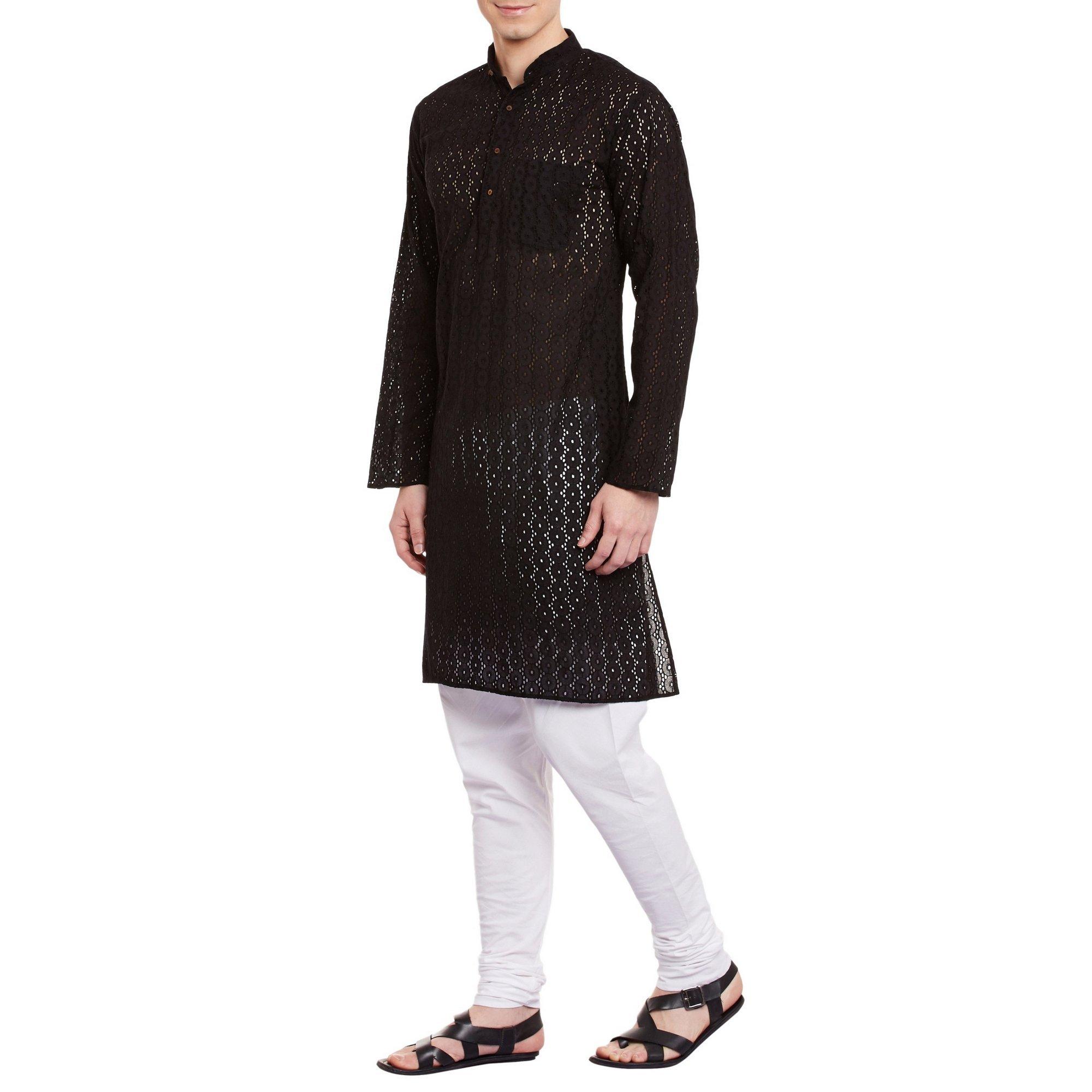 ShalinIndia Mens Embroidered Cutwork Cotton Kurta With Churidar Pajama Trousers Machine Embroidery,Black Chest Size: 40 Inch by ShalinIndia (Image #3)