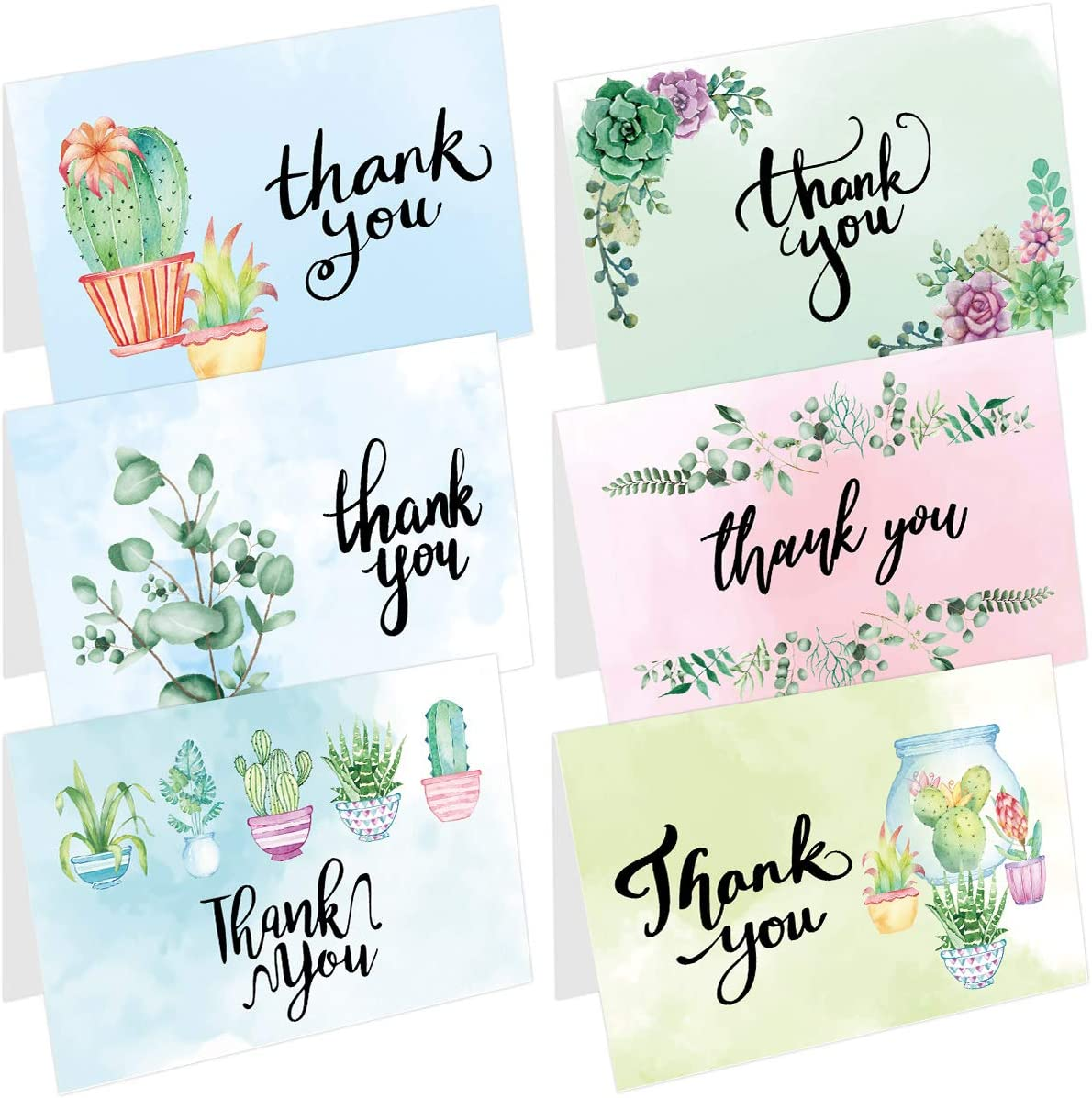 48 Thank You Cards Bulk Thank You Notes with 48 White Envelopes 50 Stickers 8 Watercolor Greenery Designs 4x6 Inch for Office School Business Wedding Baby Shower
