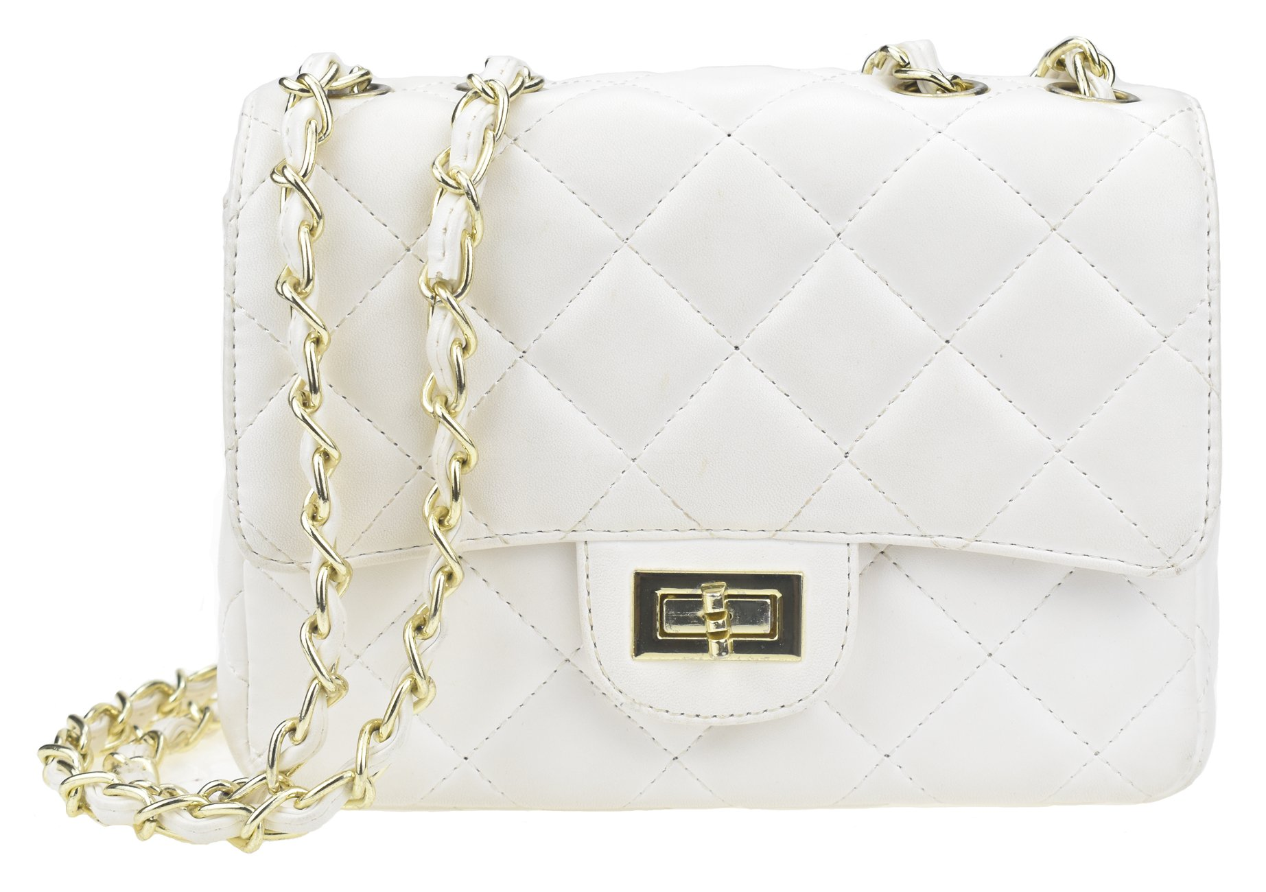 Covelin Women's Leather Fashion Handbag Quilting Envelope Cross Body Shoulder Bag White