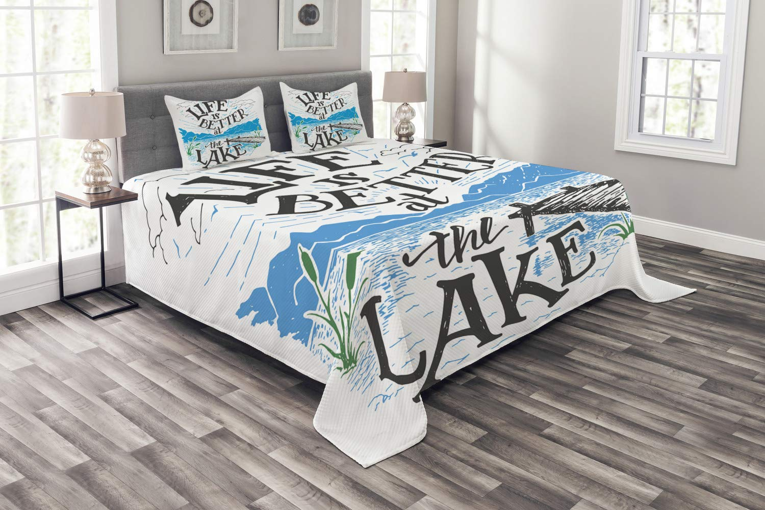 Lunarable Cabin Bedspread, Life is Better at The Lake Wooden Pier Plants Mountains Sketch Art, Decorative Quilted 3 Piece Coverlet Set with 2 Pillow Shams, Queen Size, Charcoal Grey