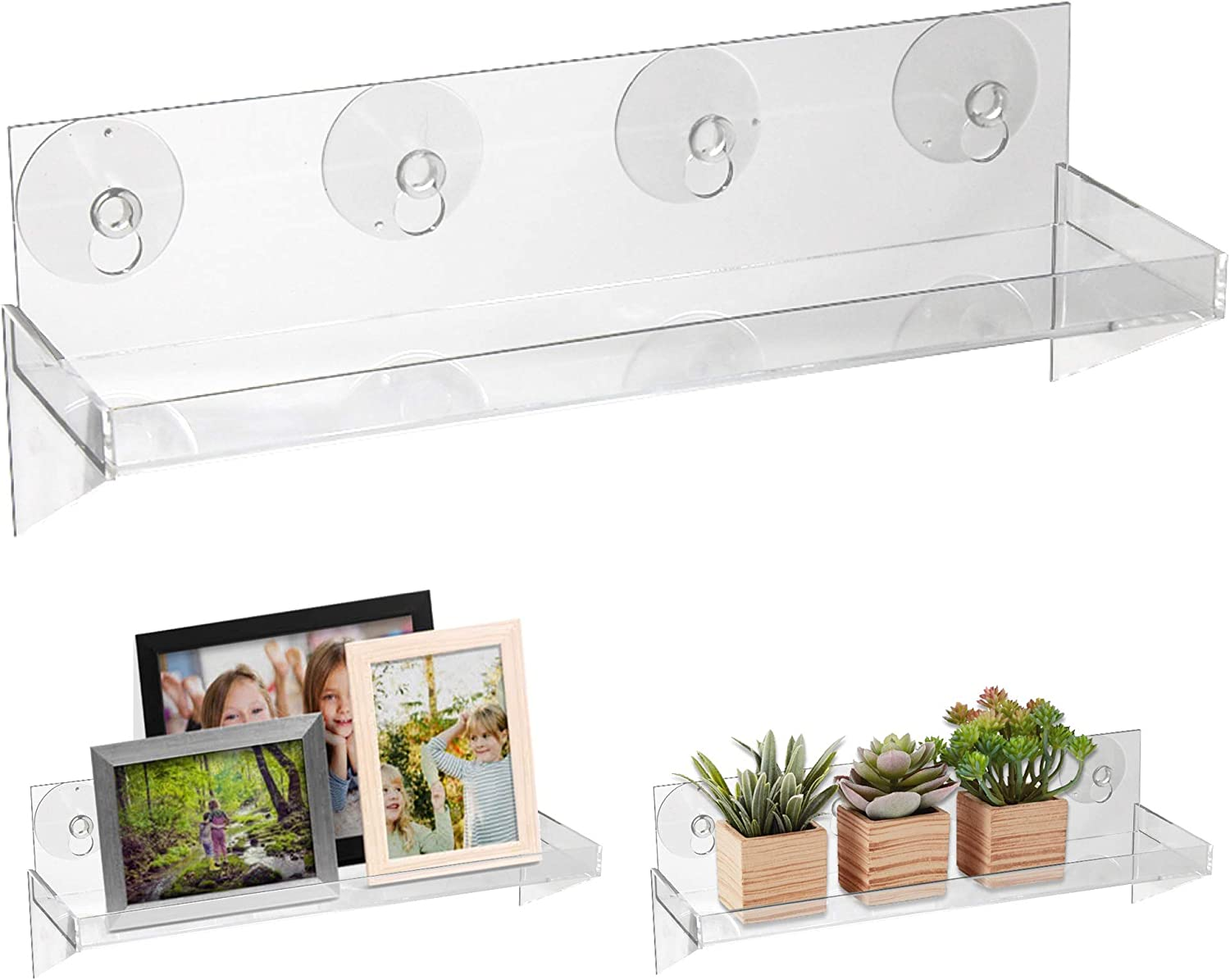 Urban Leaf - Suction Cup Shelf for Plants Window Bathroom or Kitchen | Live Plant Shelves for Indoor Garden | Window Sill, Shower, Decorations or Ledge Extender | Large 12 x 4