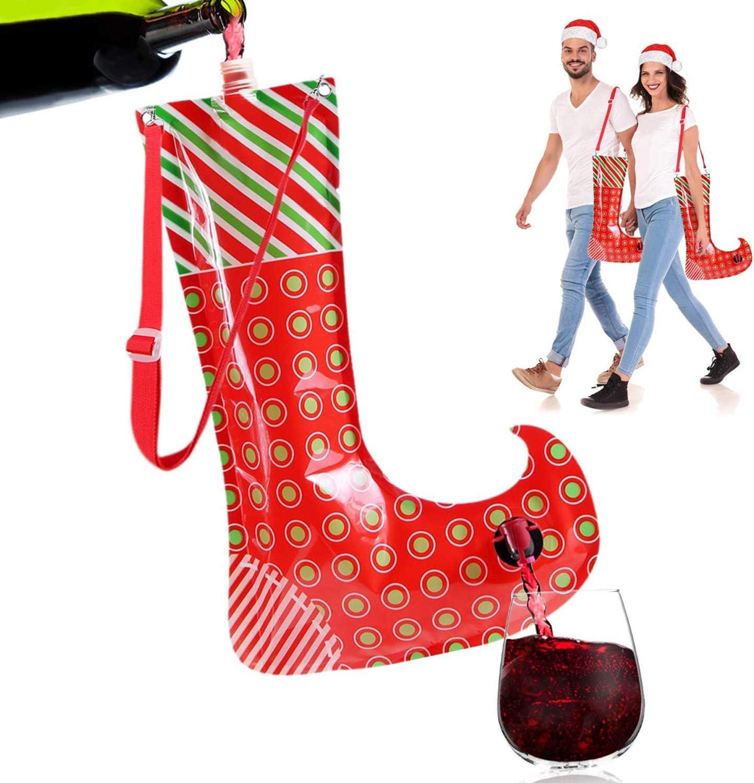 Christmas Stocking Flask Wine Dispenser- 2 Large Party Sock w/Shoulder Strap (Holds 3 Bottles)- Funny White Elephant Gifts Under 25 Dollar- Christmas Gag Gifts- Dirty Santa, Yankee Swap, Secret Santa