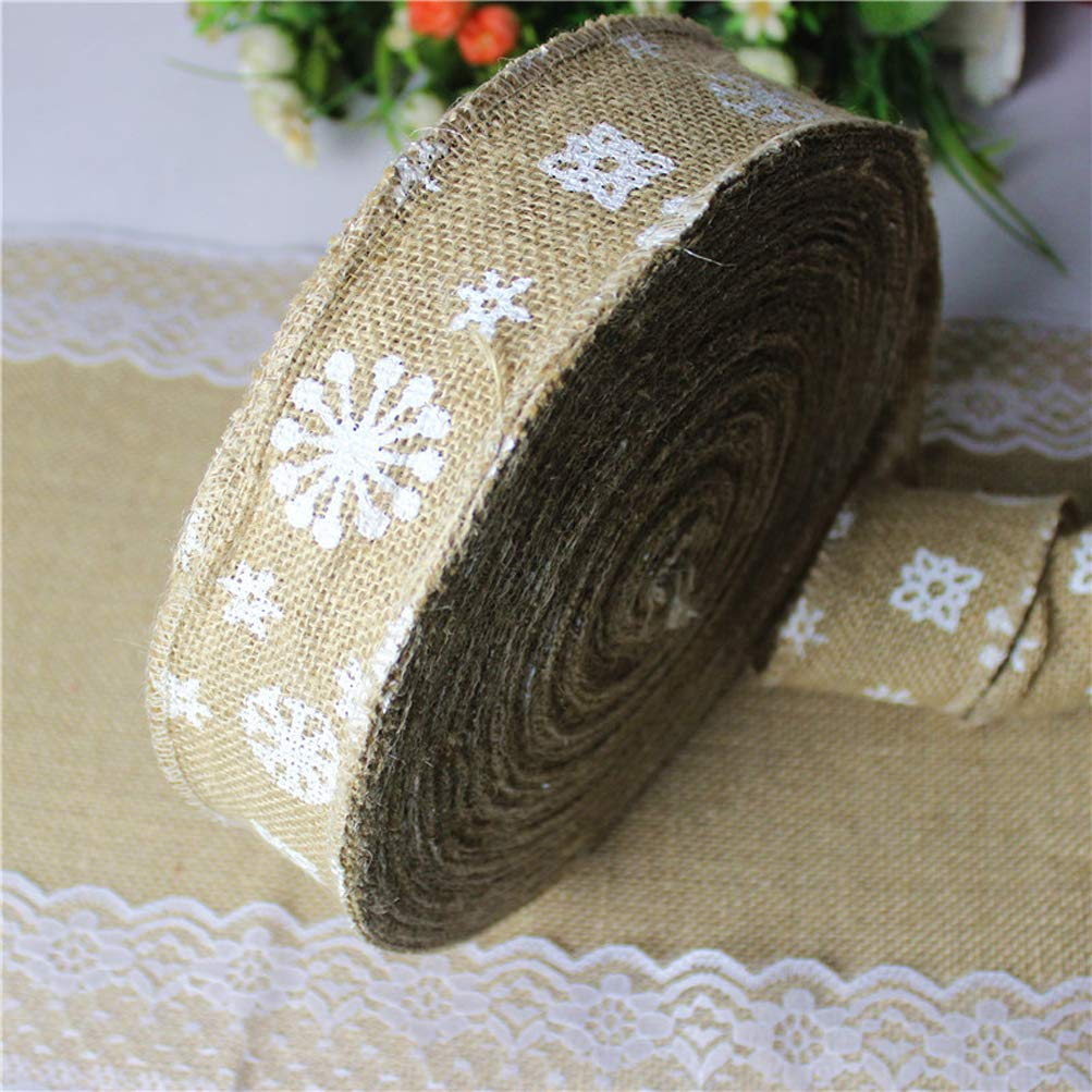 YJBear 2-1/3-Inch Wide by 10-Yard Spool Natural Color DIY Soft Christmas Linen Wired Ribbon Snowflake Pattern Durable Festive Box Wrapping Birthday Wedding Party Decor Home Decoration