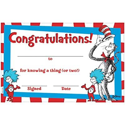 "Amscan Cat In The Hat Party, Certificate Diplomas, Party Favor, 5.5"" x 8.5"", 36 Ct.: Toys & Games"