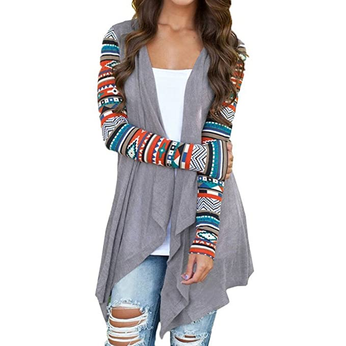 super popular d8805 692e8 Damen Cardigan Mantel Langshirt Langarm Fashion Flauschig Locker Pastell  Hipster Gemustert Luftig Lrregular Blusen Strickjacke Strickmantel Outwear  ...