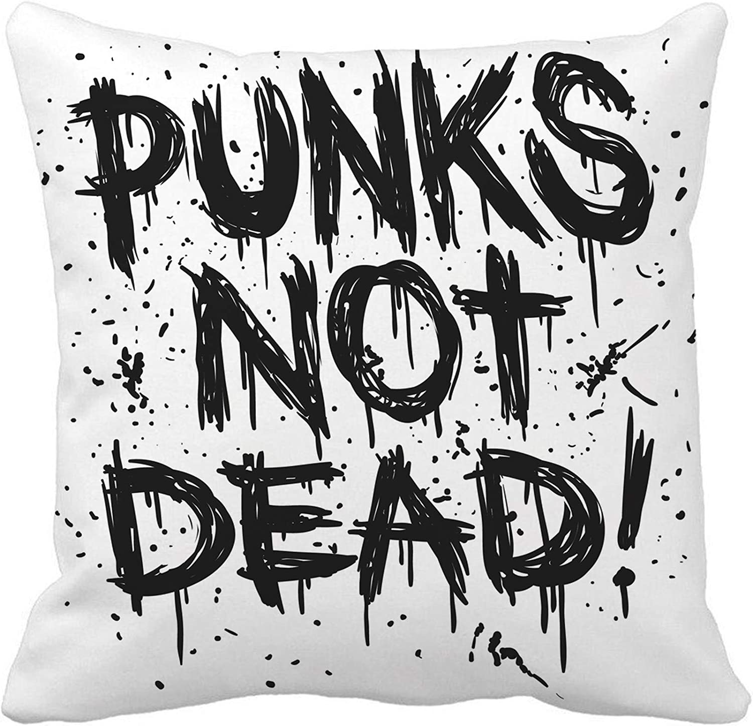 Awowee Throw Pillow Cover Tattoo Sketch Punks Not Dead Label for Anarchy Mohawk 16x16 Inches Pillowcase Home Decorative Square Pillow Case Cushion Cover