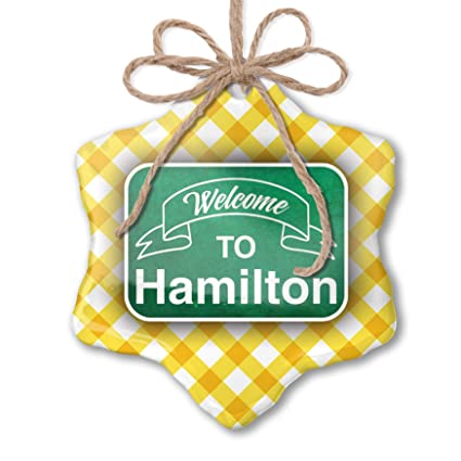 Hamilton Christmas Ornament.Amazon Com Neonblond Christmas Ornament Green Sign Welcome