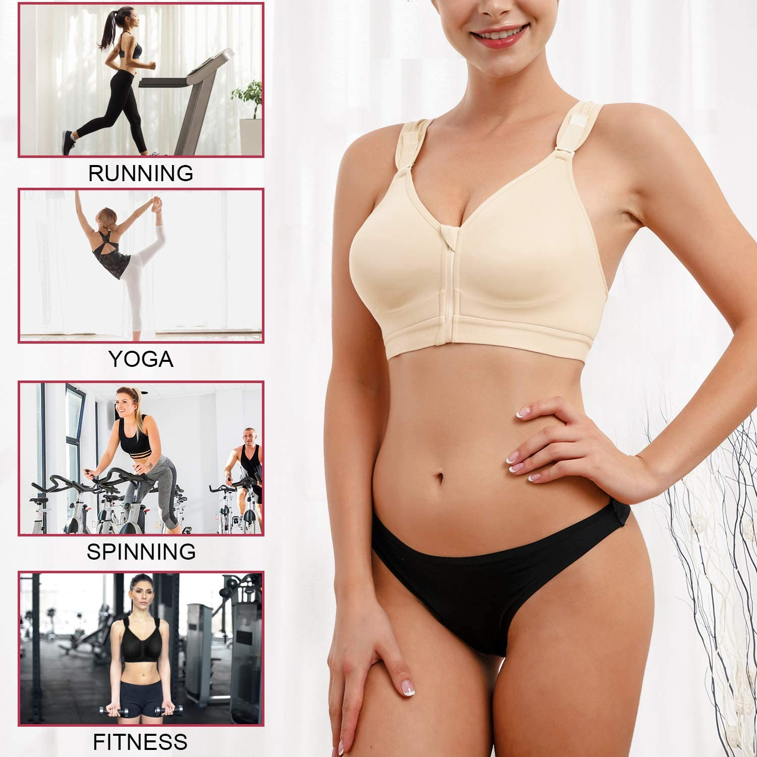 CYDREAM Women Post-Surgical Bra Sports Support Racerback Bras Zip Front Adjustable Straps Wireless at  Women's Clothing store