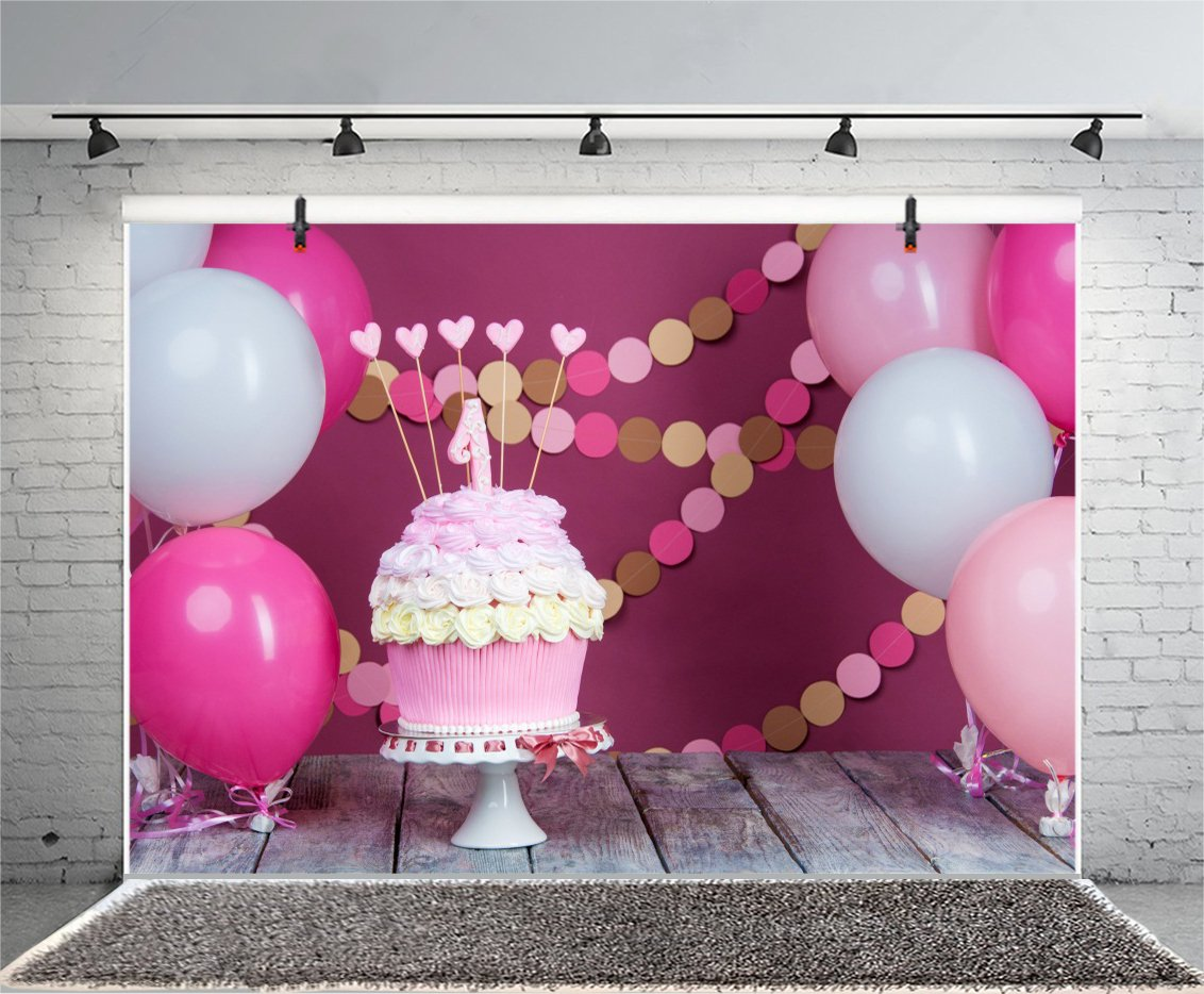 Leowefowa 1st Birthday Cake Table Decorations Backdrop 8x6ft Vinyl Photography Backgroud Baby Smash White And Pink Balloons Round Card Pendant Rose