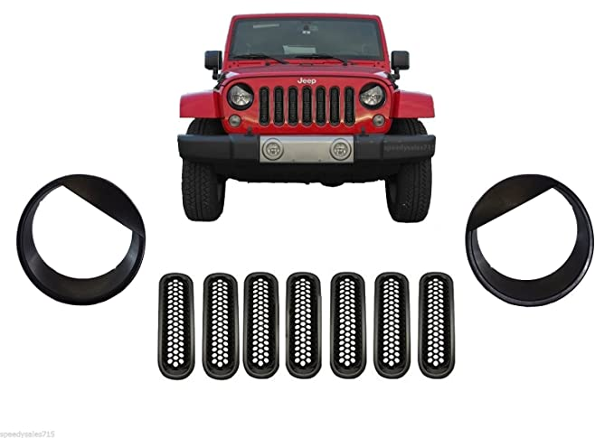 Black Mesh Grill Inserts & Angry Headlight Bezels COMBO For 2007-2016 Jeep Wrangler JK