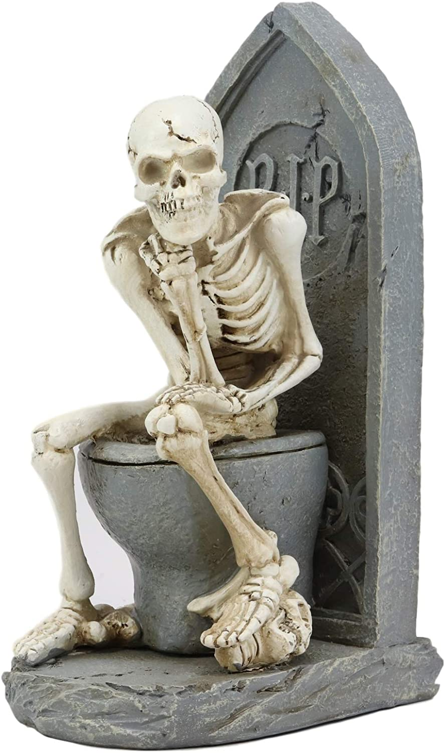 """Ebros Rest in Peace Constipated Skeleton Sitting On Graveyard Toilet in Le Penseur Thinker Pose Statue 8.75"""" H Halloween Ossuary Macabre Decor Collectible Figurine"""
