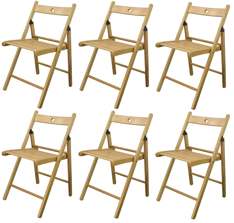 Harbour Housewares Silla plegable de madera - madera de color natural - 6 sillas