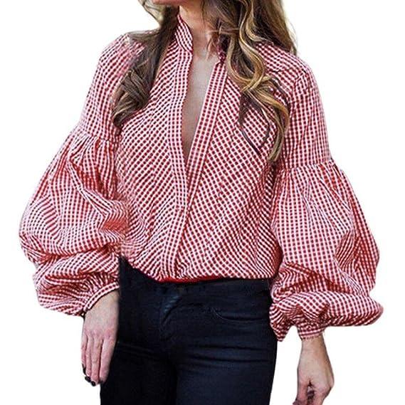 PAOLIAN Blusa de Mujer Manga Largas Otoño 2018 Blusa Sexy Ancho Casual de Moda Señora Escote V Ropa para Mujer Camisetas Roja con Botones Basicas Baratas ...