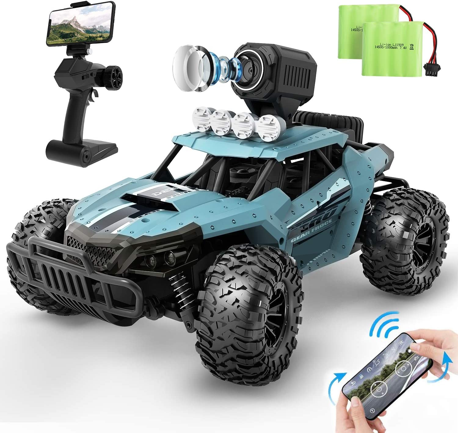 DEERC RC Cars DE36W Remote Control Car with 720P HD FPV Camera, 1/16 Scale  Off-Road Remote Control Truck, High Speed Monster Trucks for Kids Adults,  30 Min Play, RC Toys Gift for