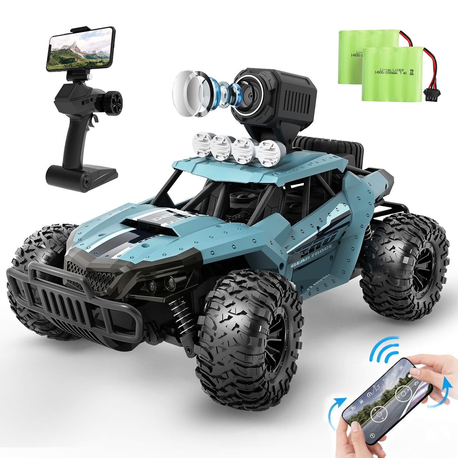 DEERC RC Cars DE36W Remote Control Car with 720P HD FPV Camera, 1/16 Scale  Off-Road Remote Control Truck, High Speed Monster Trucks for Kids Adults 2  Batteries for 60 Min Play, Gift