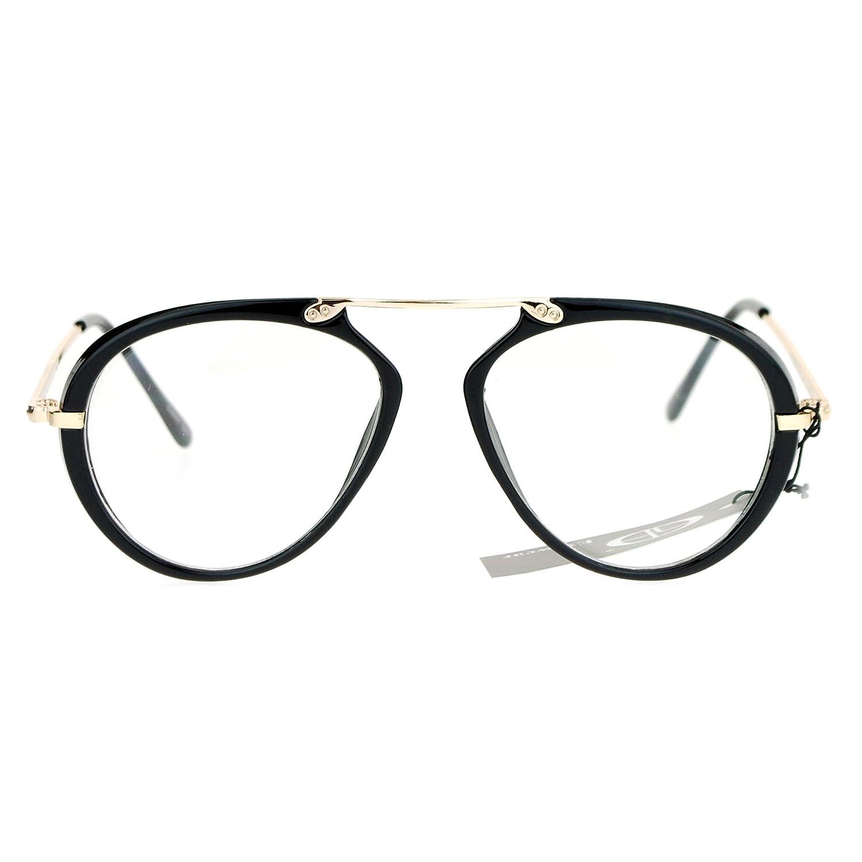 SA106 Unique Flat Top Bridge Plastic Pilot Racer Womens Clear Lens Glasses