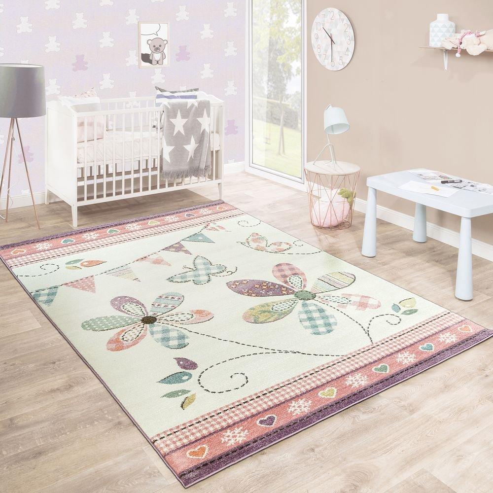 Tappeto Per Bambini Bambine Giocoso Fiorito Pastello Colori Rosa Bianco Crema, Dimensione:80x150 cm Paco Home