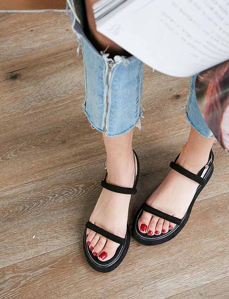 Color : Black, Size : 40 SHINIK Women Simple Wedge Sandals 2018 Spring New Buckle Platform Shoes